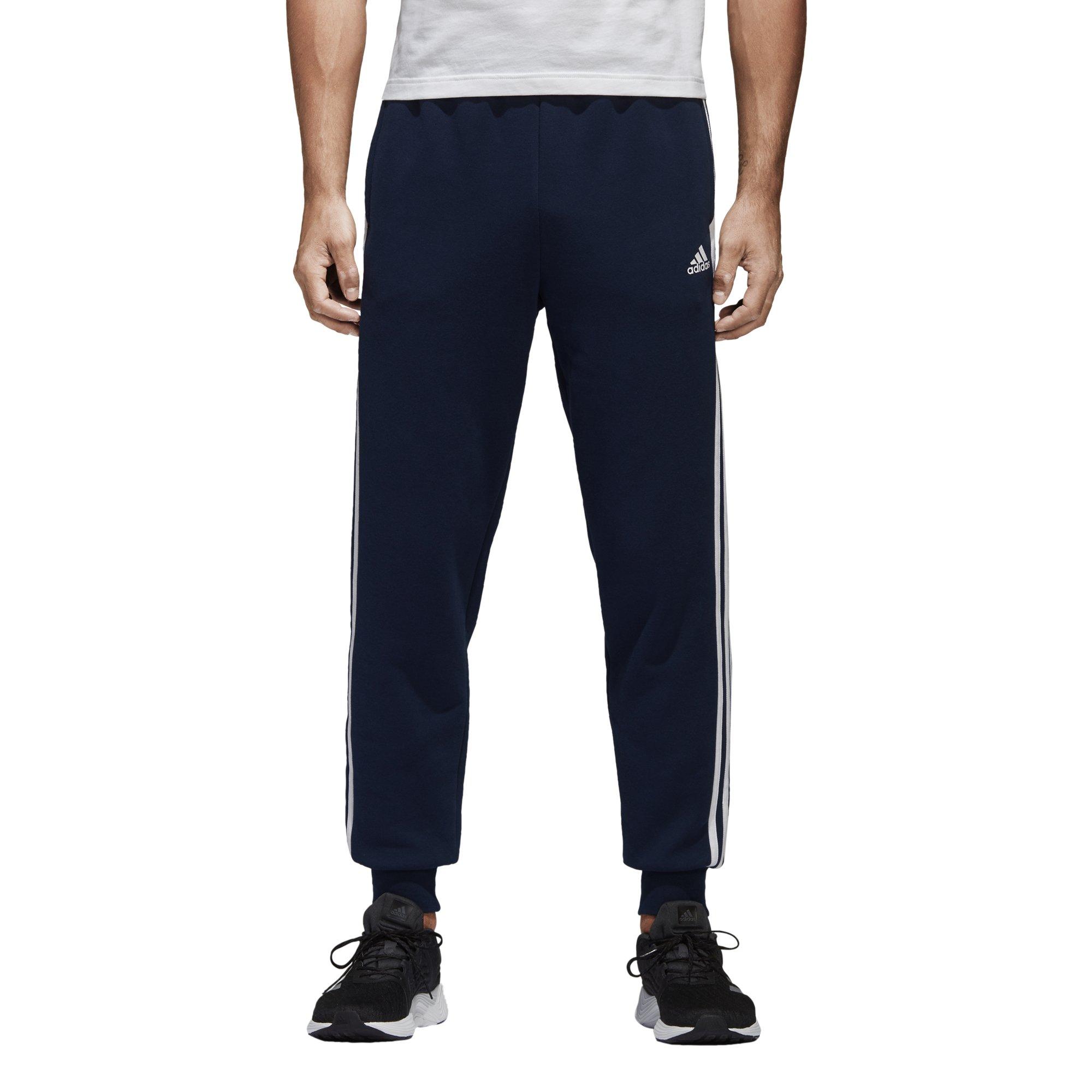 adidas Men's Essentials 3-Stripe Jogger Pants, Collegiate Navy/White, Small