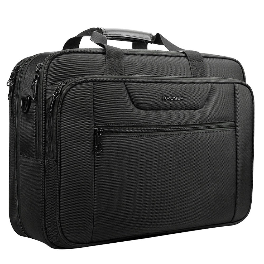 KROSER 18.5 Laptop Bag Laptop Briefcase Fits Up to 18 Inch Laptop Water-Repellent Computer Bag Shoulder Bag Expandable Extra Large Capacity for Travel/Business/School/Men-Black DKL -170