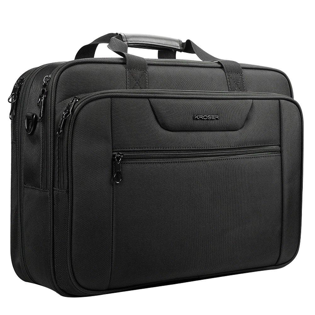 KROSER 18.5'' Laptop Bag Laptop Briefcase Fits Up To 18 Inch Laptop Water-Repellent Computer Bag Shoulder Bag Expandable Extra Large Capacity For Travel/Business/School/Men-Black