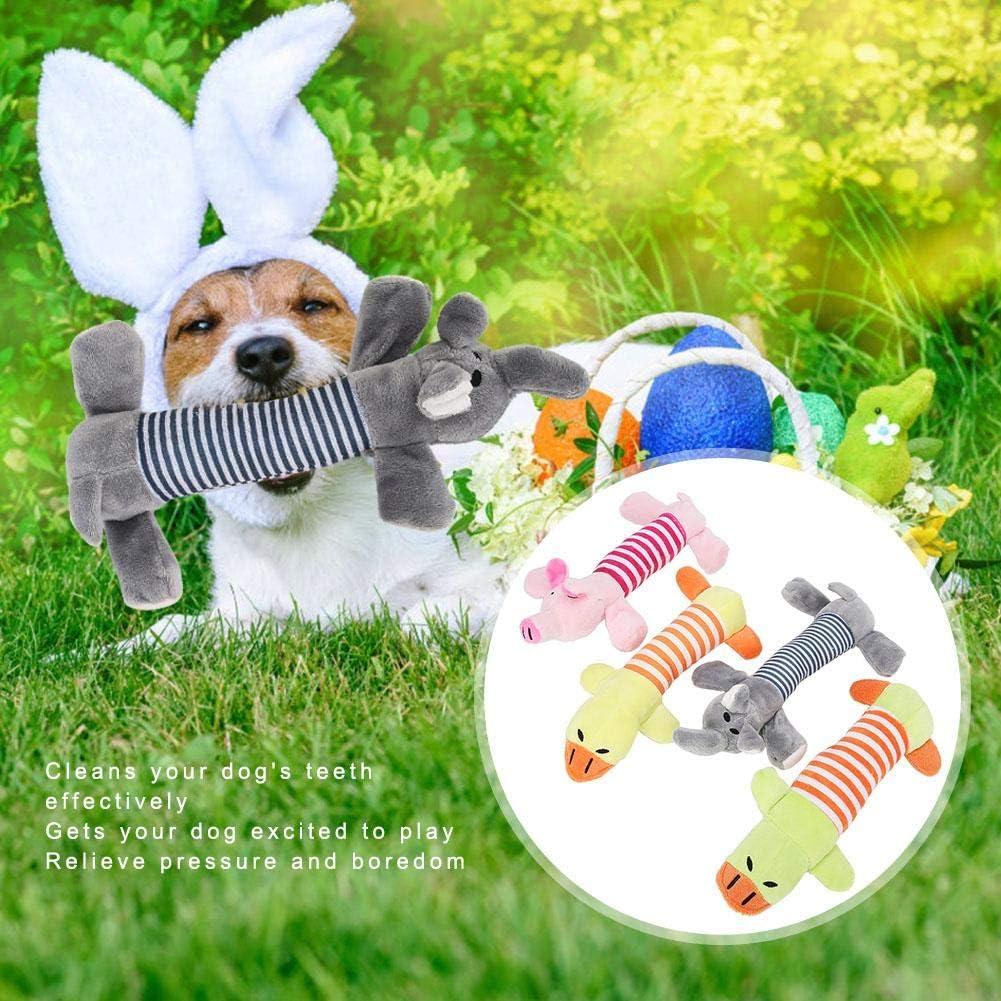Zerodis 4PCS Dog Squeaky Toys Durable Dog Chew Squeak Toys Plush Cute Animals Natural Puppy Toys Juguete de Entrenamiento Interactivo para Perros medianos y Perros Grandes