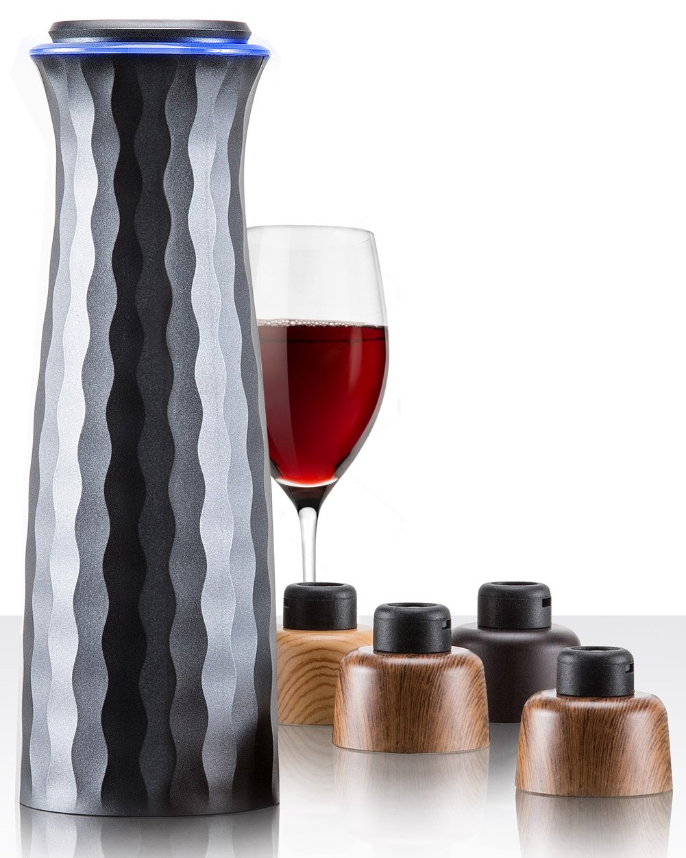 Electric Wine Saver Stopper Set: Mumba Wine Vacuum Sealer with Accessories - Automatic Air Seal Pump Machine and 4 Reusable Stoppers - Bottle Preserver Wine Accessory Kit for Men/Women Wine Lovers