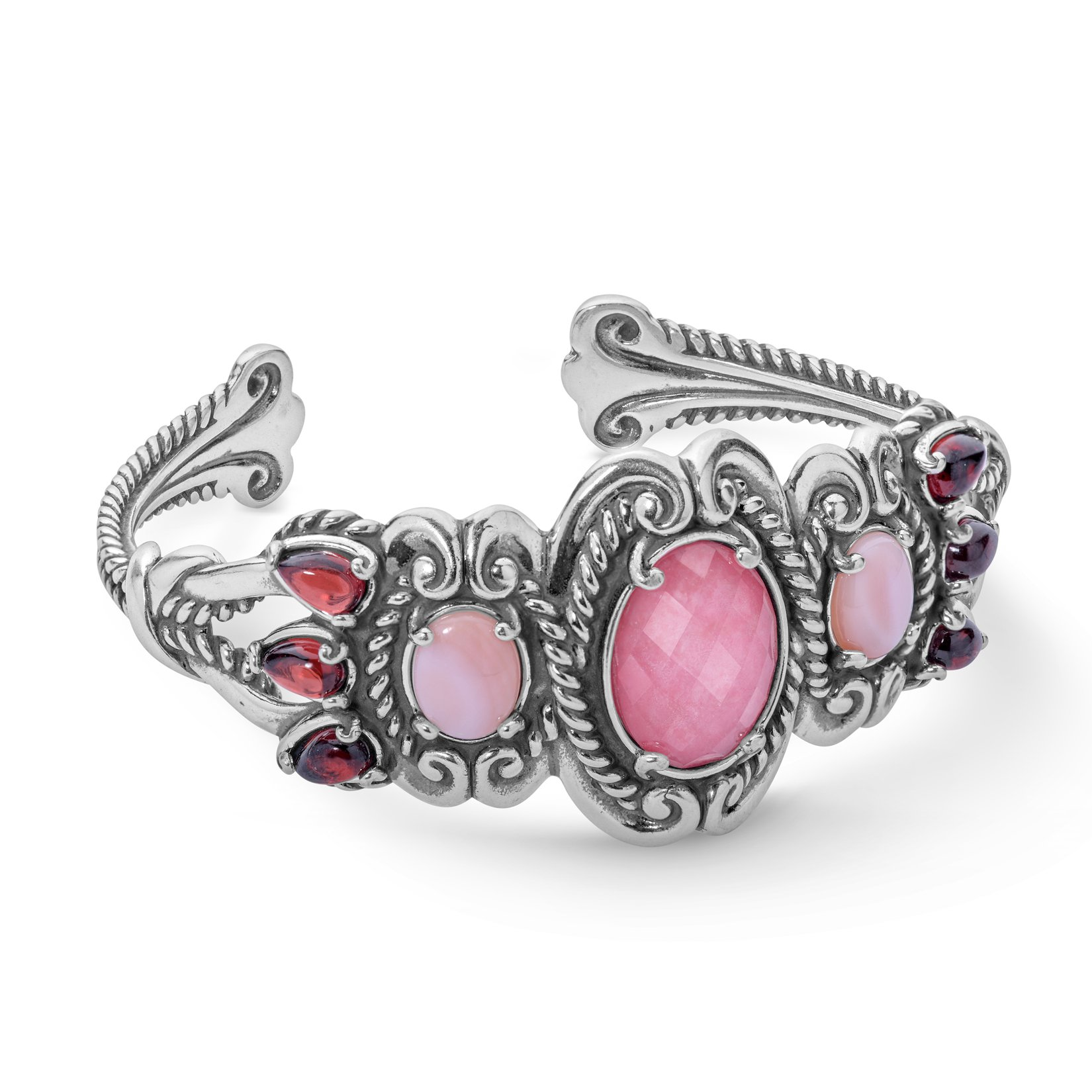 Tassels Sterling Silver & Shades of Pink Gemstones Cuff Bracelet