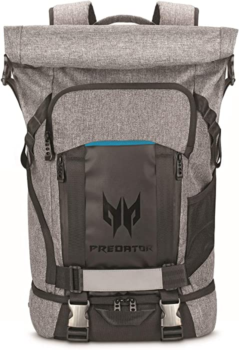 "Acer Predator Rolltop Gaming Backpack, Water Resistant Lightweight Travel Backpack Fits and Protects Up to 15.6"" Gaming Laptops, Grey with Teal Accents"