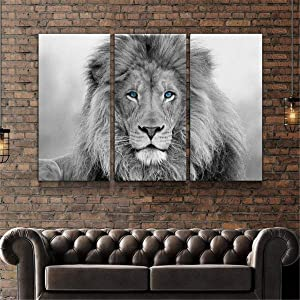 JESC 3 Panel Canvas Wall Art Blue Eyes Wild Animals Lion Black White Lion King Wall Paintings Canvas Poster for Wall Decor for Men Living Room Bedroom with Wooden Frame Ready to Hang
