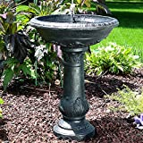 Sunnydaze Oasis Bird Bath Solar Power Outdoor Water Fountain, 26 Inch Tall