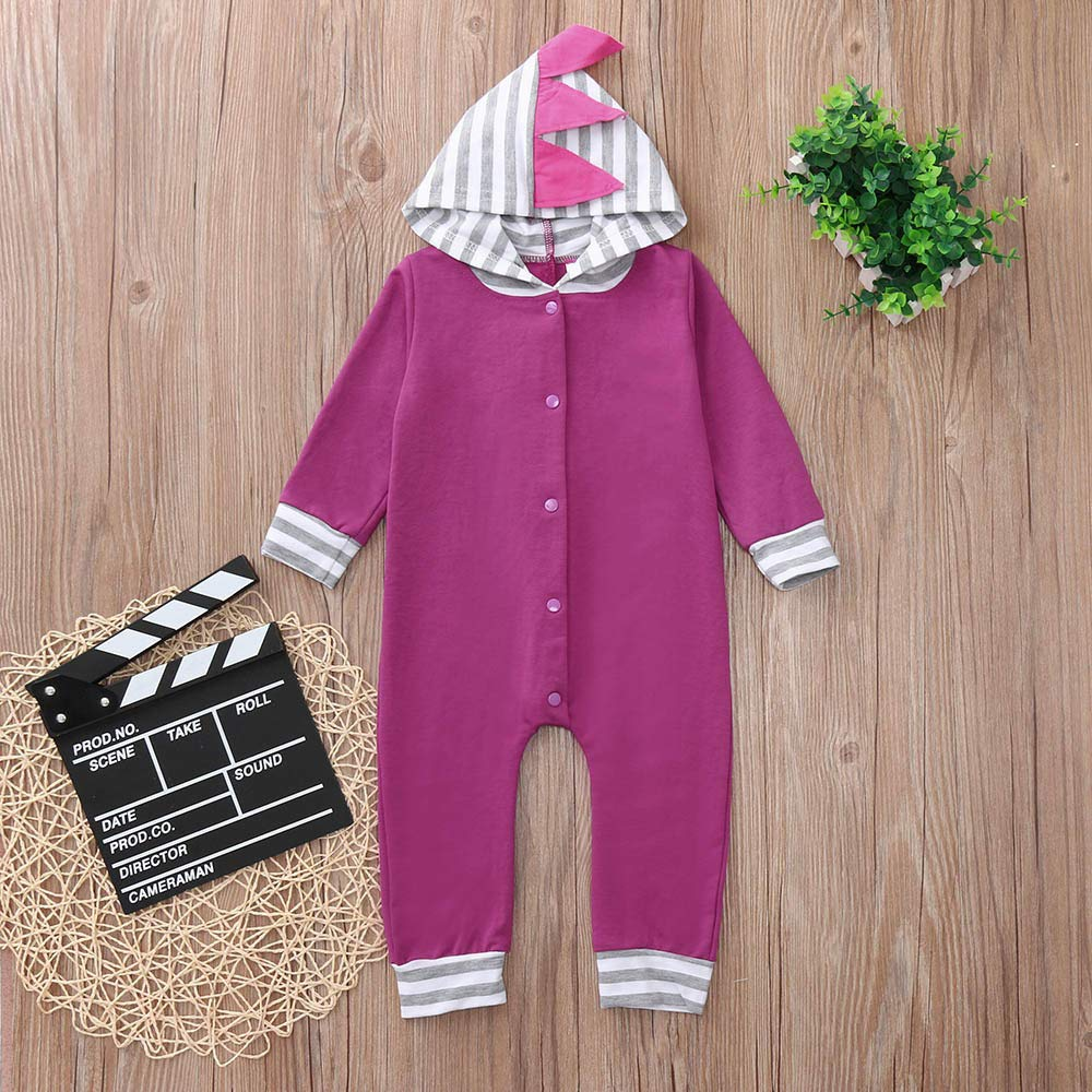 Baby Kids Playsuit,Fineser Cute Toddler Baby Girl Boy Striped 3D Dinosaur Hooded Button Romper Jumpsuit Playsuit Clothes