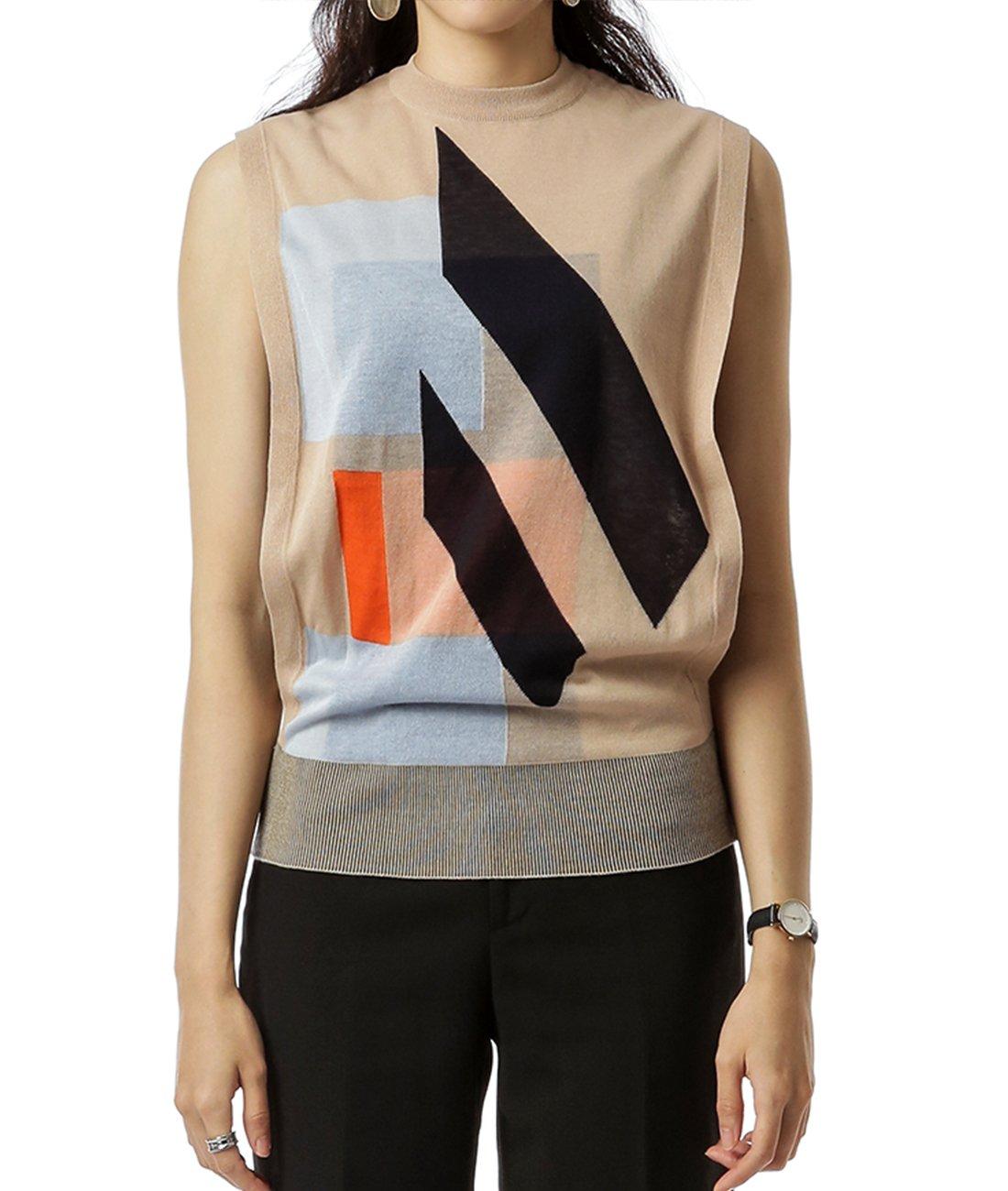 Wiberlux Acne Bena Trans Women's Geometric Pattern Open Side Vest M Beige