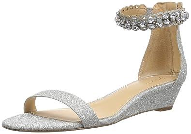 34b8c0e48 Badgley Mischka Jewel Women's Ginger Wedge Sandal, Silver, 5 Medium US