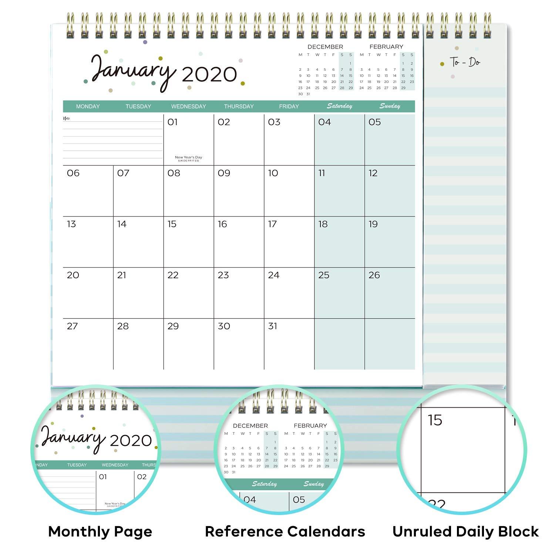 dic 2020 Calendario da tavolo con elenco impegni 26,5x21,5x8,5cm gennaio 2020 Calendario 2020 mese da visualizzare con 2 tasche Calendario da tavolo 2020