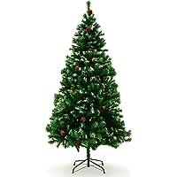 Arbre de Noël artificiel, 1,5m–2,4m taille choix de plastique Décoration Arbre avec arbre de Noël Premium–Support résistant aux flammes haute pointe Count