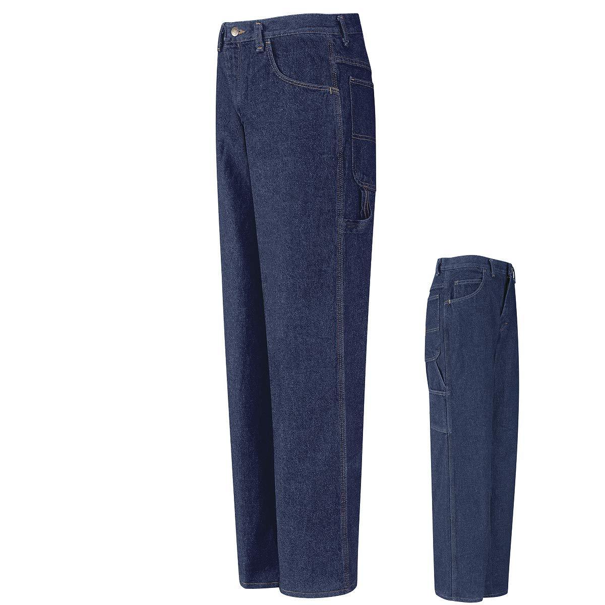 Red Kap Size 32 X 32 Prewashed Indigo Cotton Dungarees With Zipper Closure