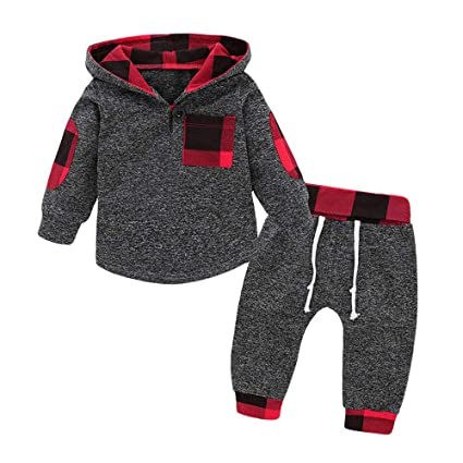 Hatop 2Pcs Newborn Infant Baby Girls Boys Plaid Hoodie Pullover Tops Pants Outfits Clothes Set for