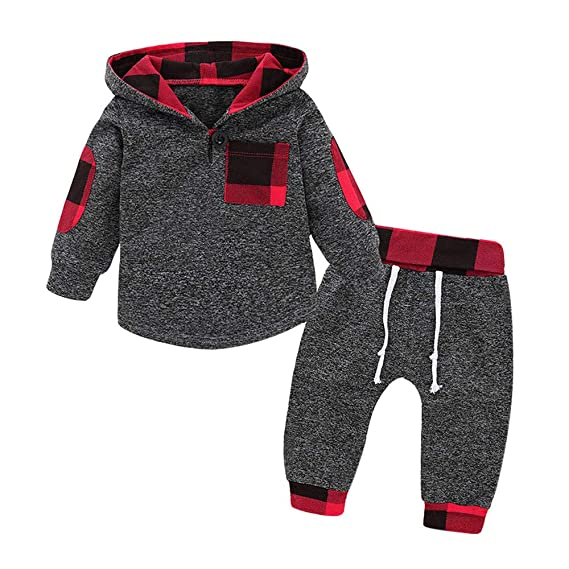 5bd230d1e24f Image Unavailable. Image not available for. Color  Hatop 2Pcs Newborn  Infant Baby Girls Boys Plaid Hoodie Pullover Tops Pants Outfits Clothes Set  for