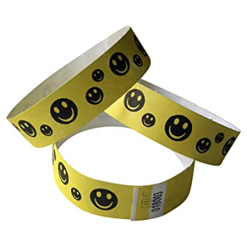 wristbands-bracelets HAPPY FACES 100 Tyvek-Eintrittsbänder neongelb SMILEYS