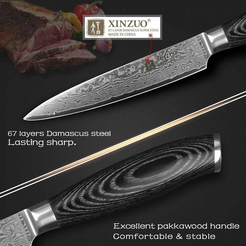 XINZUO 5 inch Utility Knife 67 Layer Japanese Damascus Steel Kitchen Knife Fruit Knife Peeling Knife with PakkaWood Handle - Ya Series by XINZUO (Image #3)