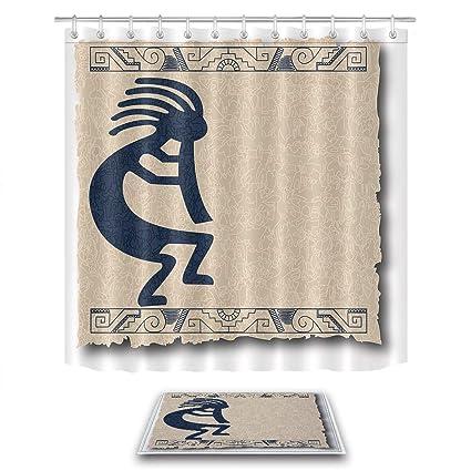 LB Kokopelli Tribal Pattern Print Native American Cultural Art Shower Curtain Set 70x70 Inch