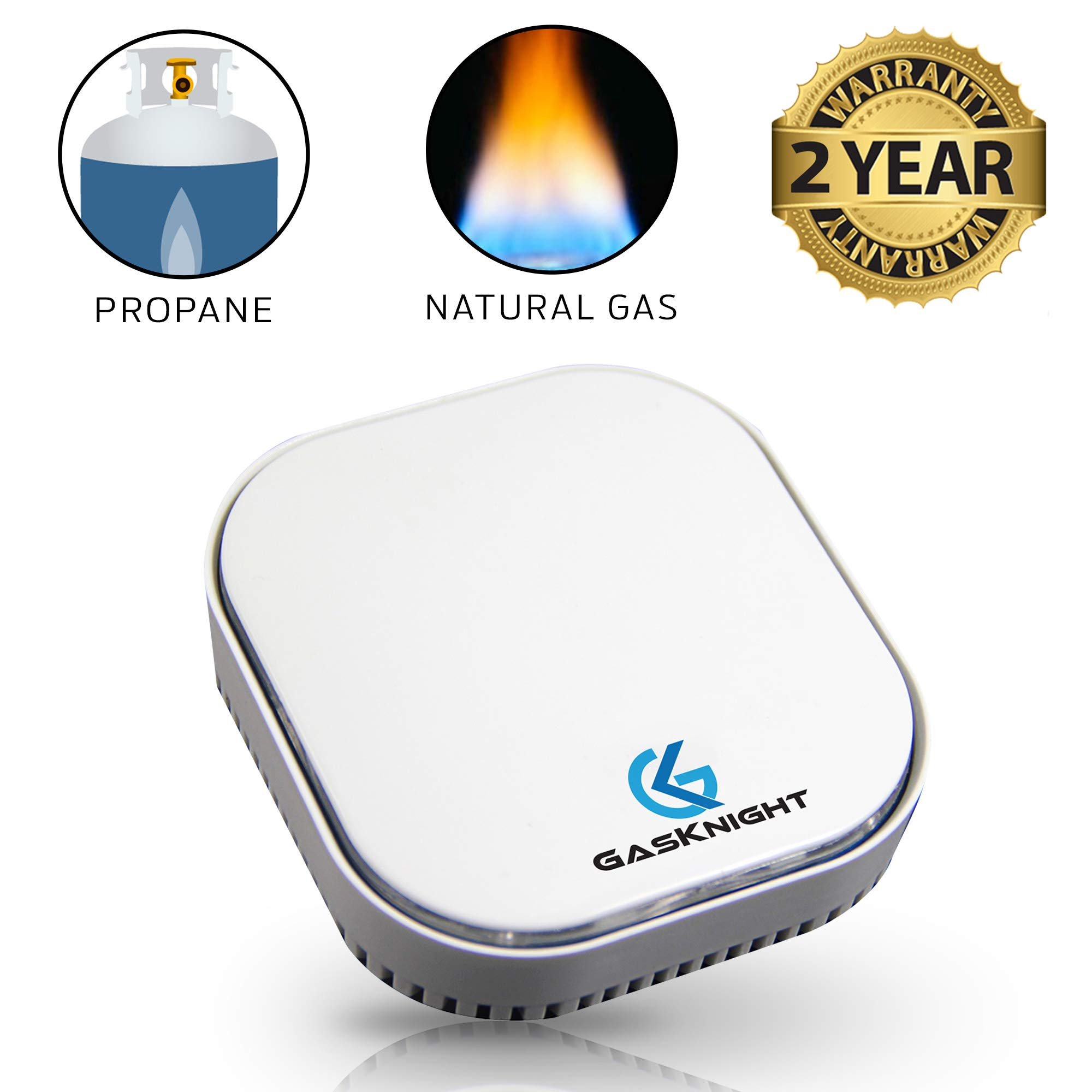 Natural Gas Detector & Propane Detector. Natural Gas Alarm and Monitor for Home, Kitchen, Camper, Trailer or RV. Plug-In Gas Leak Sensor for Explosive LPG, LNG, Methane & Butane Gases with FREE EBOOK! by GasKnight
