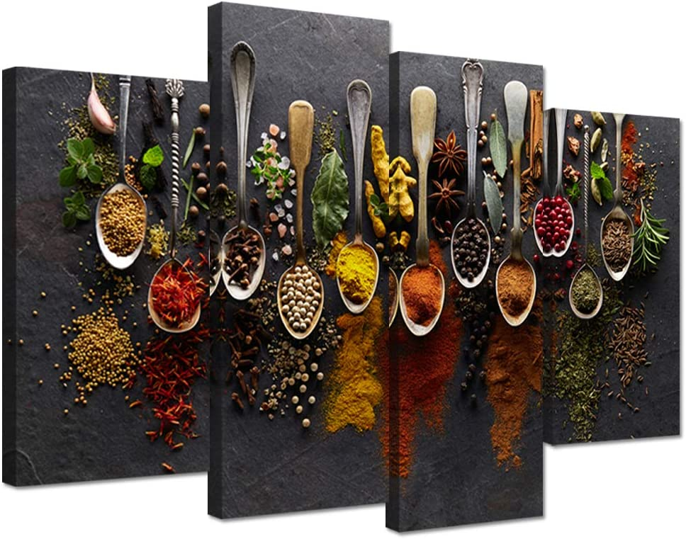 Amazon Com Ihappywall Kitchen Pictures Wall Decor 4 Pieces Couful Spice In Spoon Vintage Canvas Wall Art Food Photos Painting On Canvas Stretched Framed Home Decoration Gift Ready To Hang Posters Prints