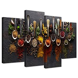 Hello Artwork Kitchen Pictures Wall Decor 4 Pieces Couful Spice in Spoon Vintage Canvas Wall Art Food Photos Painting On Canvas Stretched Framed Home Decoration Gift Ready to Hang