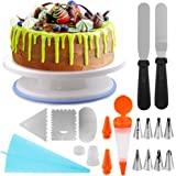 Cake Decorating Supplies, Eagmak Professional Cupcake Decorating Kit Cake Decorating Tools with Rotating Cake Turntable Stand, 3 Decorating Comb, 8 Icing Tip,1 Bags,1 Cake Pen,1 Coupler, 2 Icing Spat