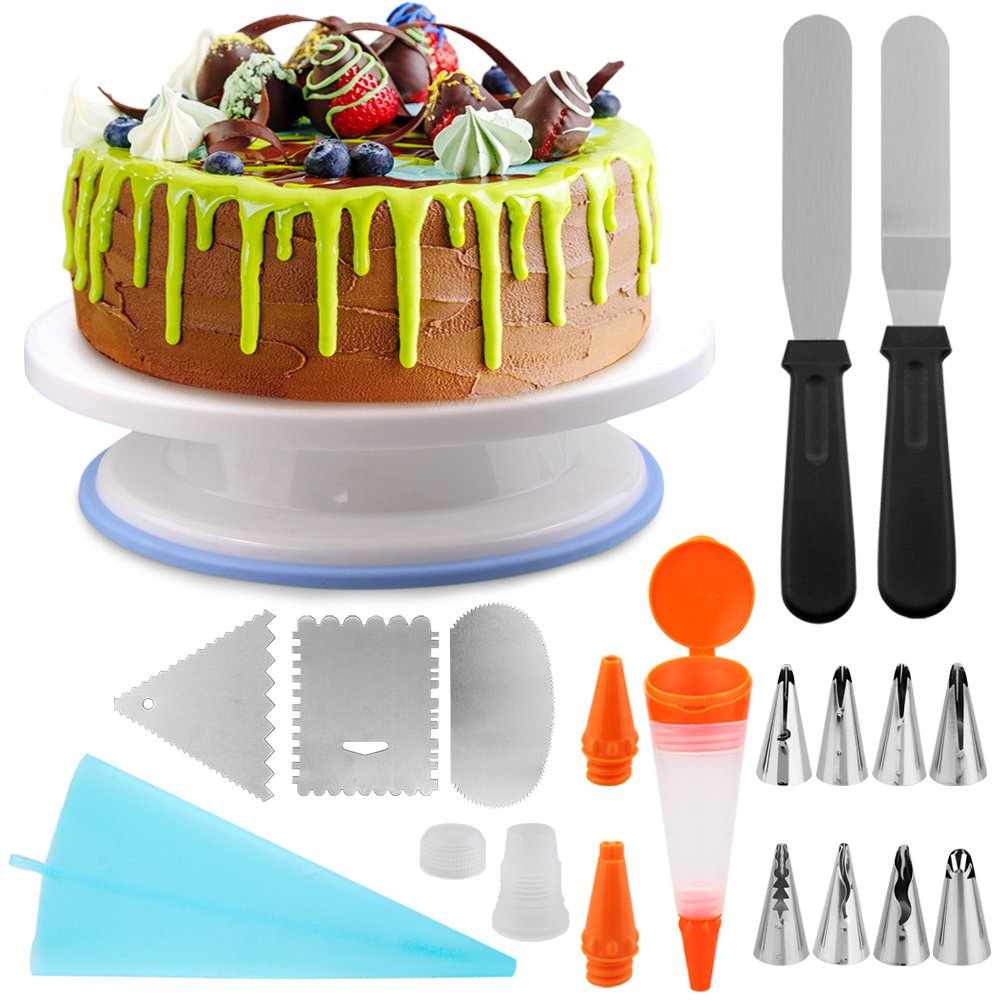 Cake Decorating Supplies, Eagmak Professional Cupcake Decorating Kit CakeDecoratingTools with Rotating Cake Turntable Stand, 3 Decorating Comb, 8 Icing Tip,1 Bags,1 Cake Pen,1 Coupler, 2 Icing Spat