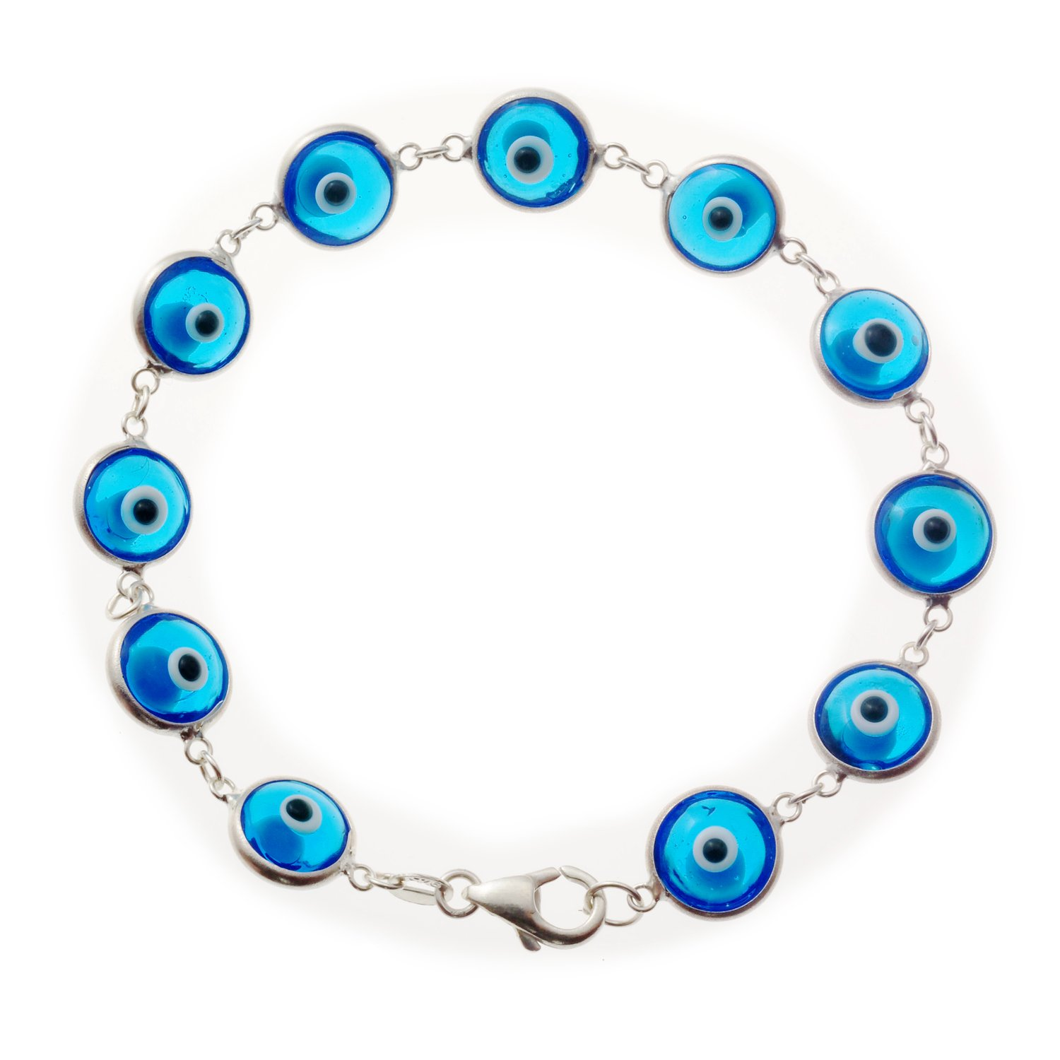 Love & Lucky Sterling Silver Evil Eye Bracelets, 7.5 inches (Translucent Turquoise)