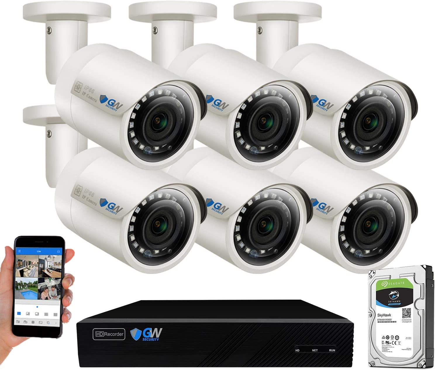 Pre-installed 2TB HDD, 2x HDD bay, up to 16TB total GW Security 8 Channel H.265 4K HDMI NVR // Network Video Recorder 8CH PoE Ports Compatible with 8MP // 5MP //4MP 1080P Realtime ONVIF IP Cameras