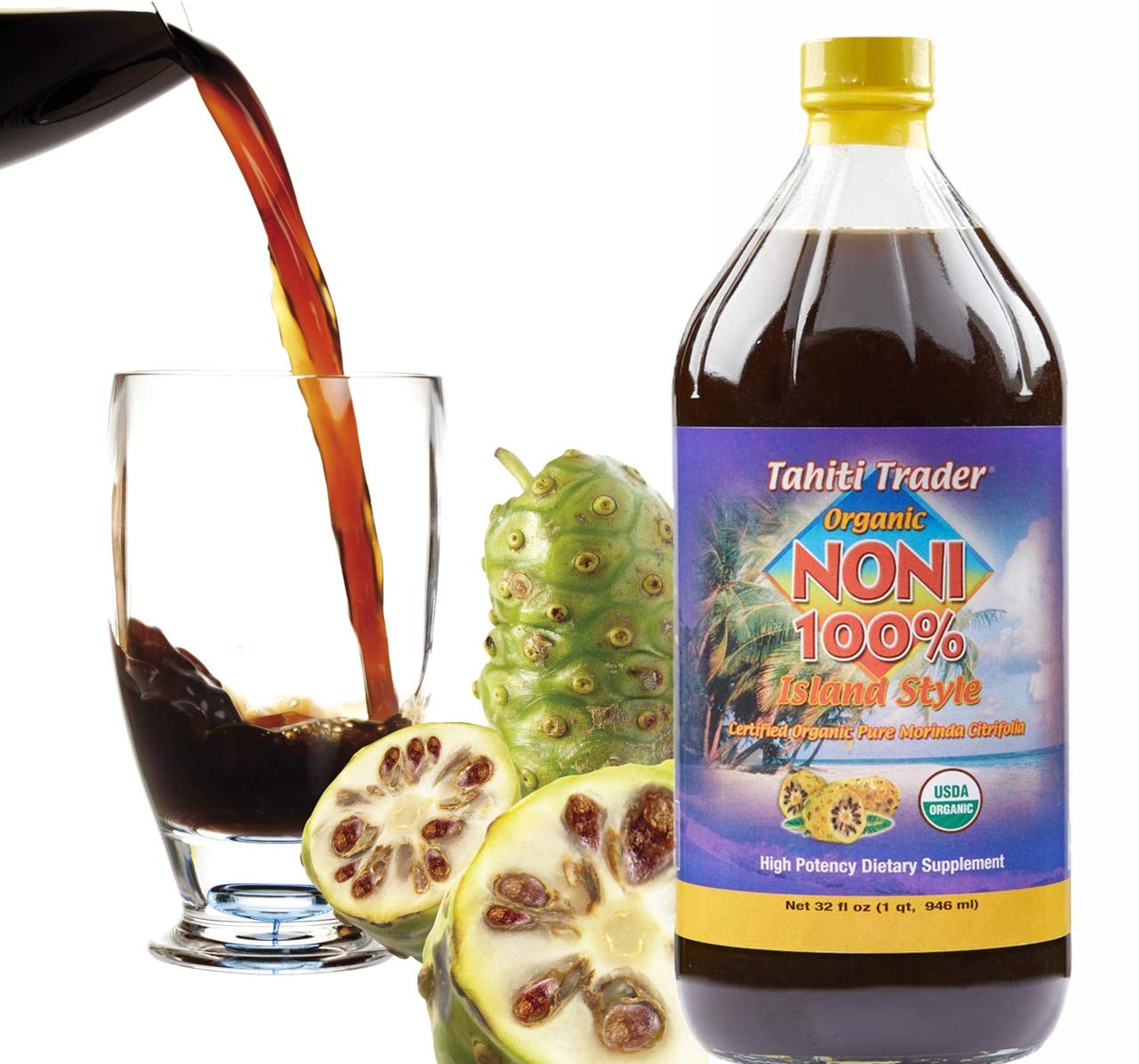 TAHITI TRADER Organic Noni 100 Island Style Juice 32oz – Noni Juice Organic Pure – Organic Noni Juice Tahiti – Juice Noni Tahiti Juice – High Potency 100 Pure Noni Juice – Single Pack