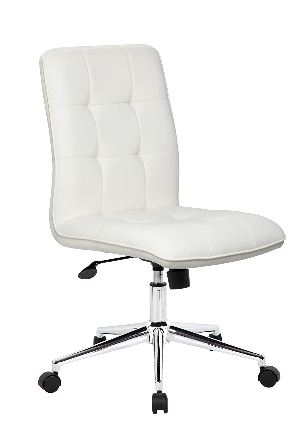 Boss Office Products B330-WT Mellennial Modern Home Office Chair without Arms in White