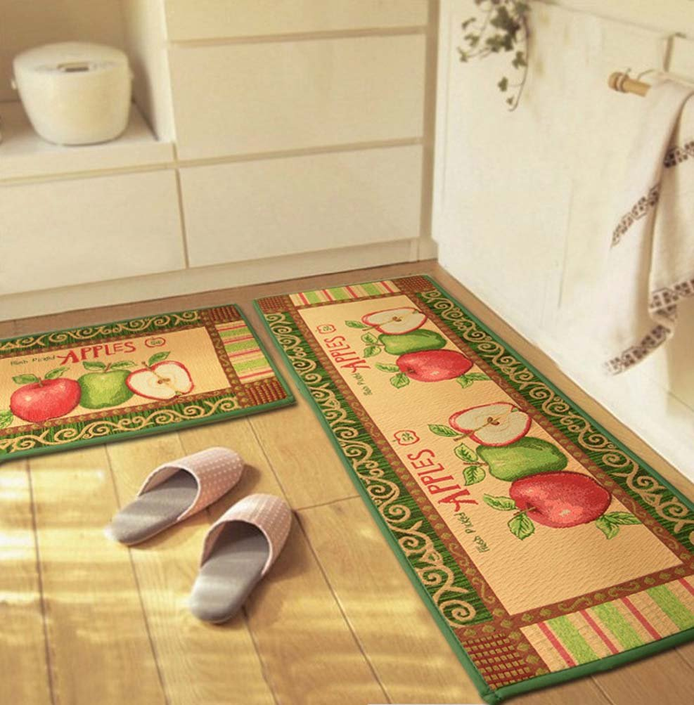 """YJBear Red Green Apple Print Rectangle Kitchen Floor Runner Floor Mat Entry Mat Doormat Home Decor Carpet Indoor Outdoor Area Rug 17.7"""" X 47.2"""""""