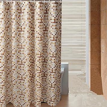 PVC Kunststoff Duschvorhang Duschvorhänge Mosaik Braun Gelb Beige Platz  Muster Undurchsichtig Wasserdicht Stoff Zum Hotel Zuhause