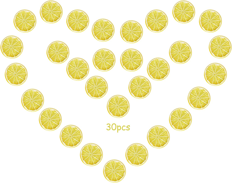 erduoduo 30 Pieces Simulation Lemon Slices Plastic Fake Artificial Fruit Mini Small Model Party Kitchen Wedding Decoration Slices Lifelike Decorative Fake Fruit(Yellow)