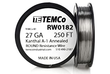TEMCo Kanthal A1 wire 27 Gauge 250 Ft Resistance AWG A-1 ga ...