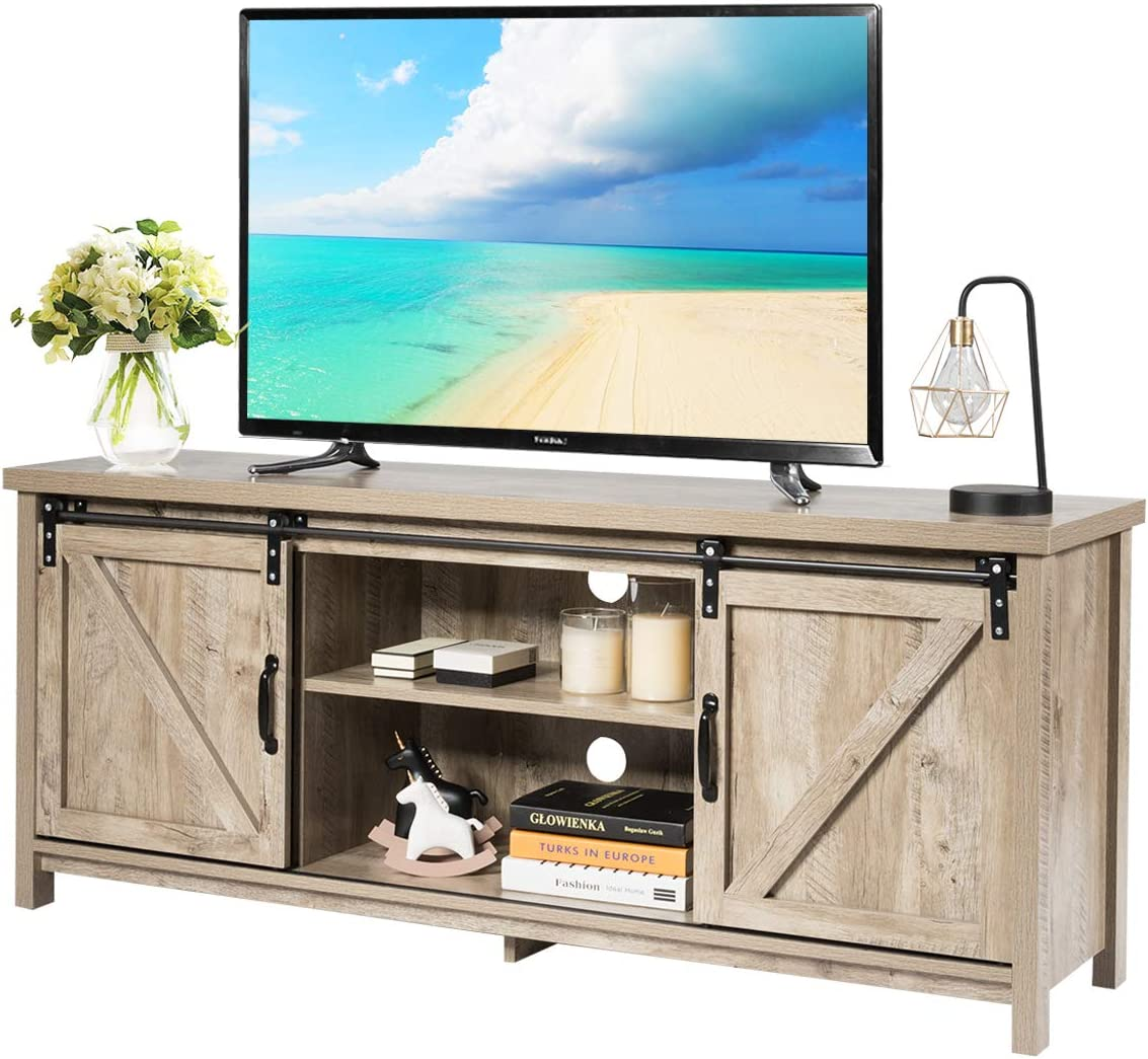 Amazon Com Tangkula Wood Tv Stand For 65 Television Tv Ark With Sliding Barn Doors Wooden Tv Cabinet With 2 Center Compartments And 2 Cabinets Barn Door Tv Stand Natural Design White Oak