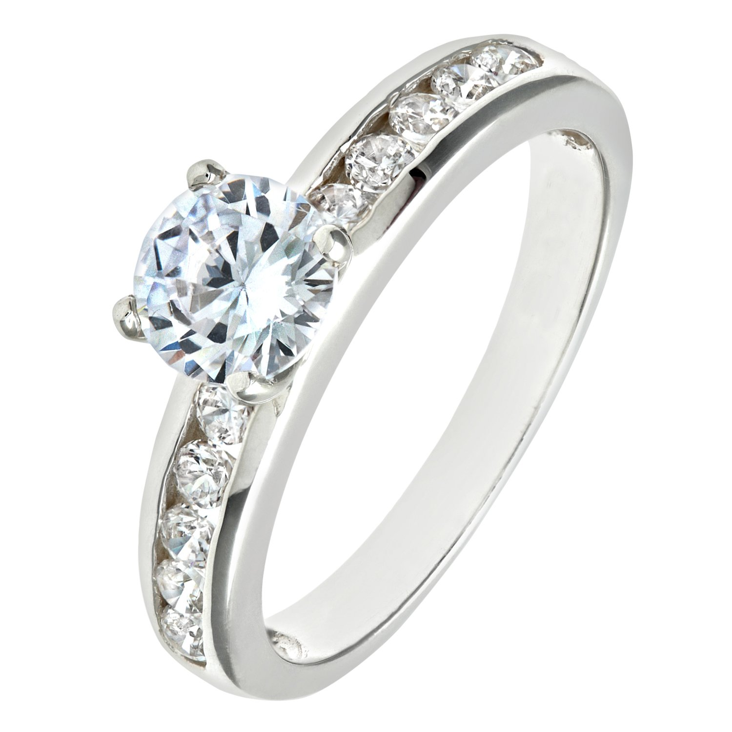Citerna Silver Cz Engagement Ring with Cz shoulders