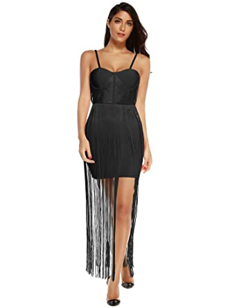 Meilun Tassels Fringe Bandage Dress Celebrity Evening Party Dresses Club Dresses Vestidos (Black, XS