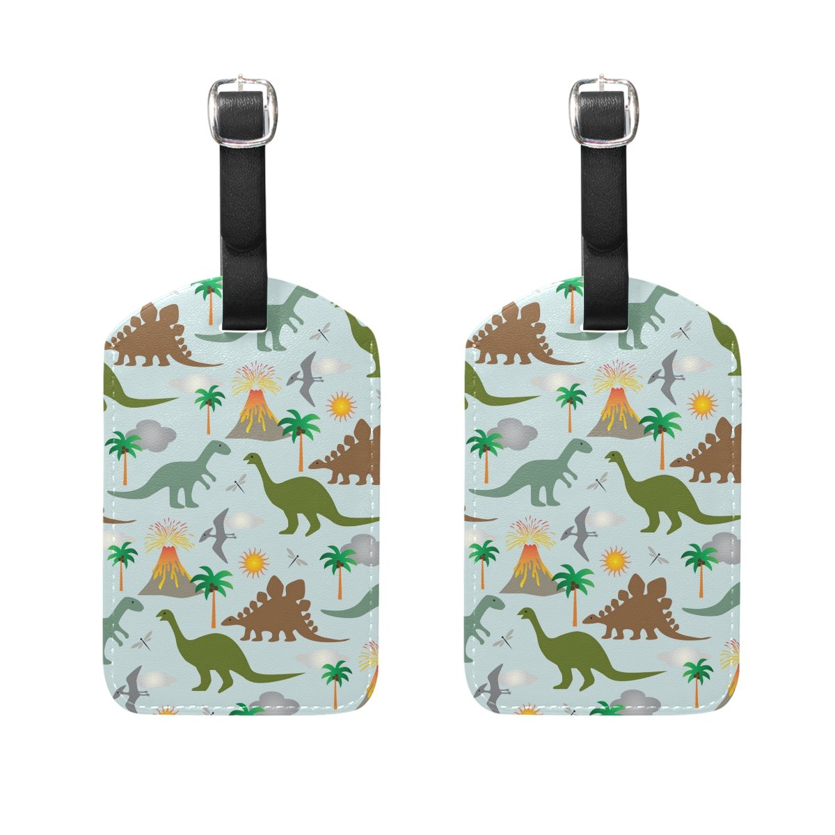 COOSUN Dinosaur Scene Luggage Tags Travel Labels Tag Name Card Holder for Baggage Suitcase Bag Backpacks, 2 PCS