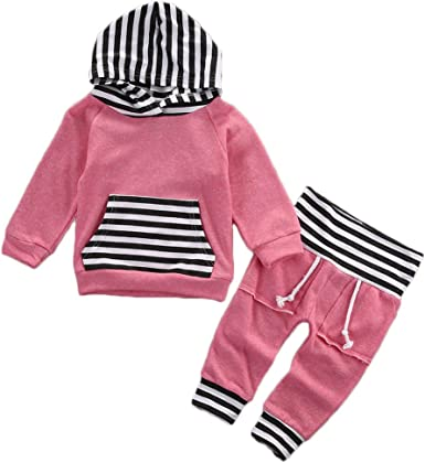 Toddler Baby Unisex Winter Fleece Outfit Sweatshirt Striped Cartoon Pullover