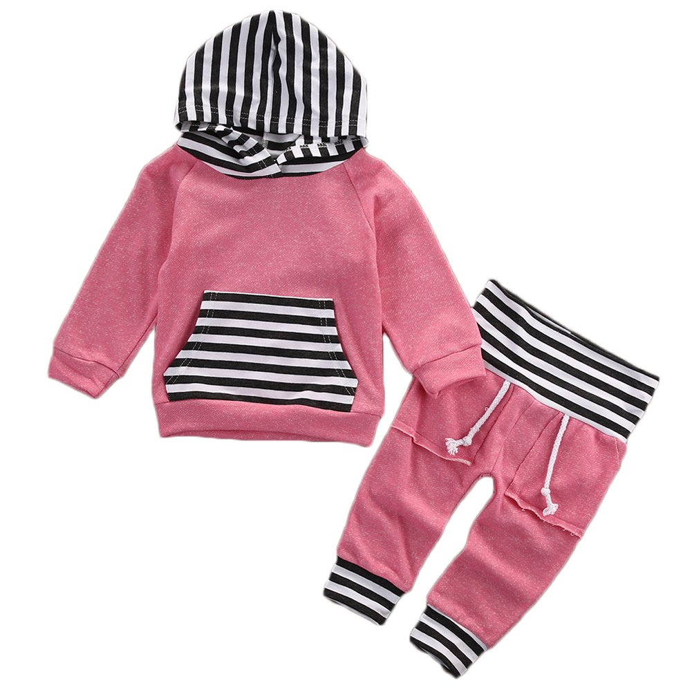 Baby Little Girls Long Sleeve Striped Pocket Hoodie Top and Pants Outfit