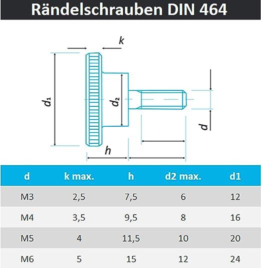 M6//8//10 Rändelschraube hohe Form Rändelschrauben DIN464 Schrauben Stahl verzinkt
