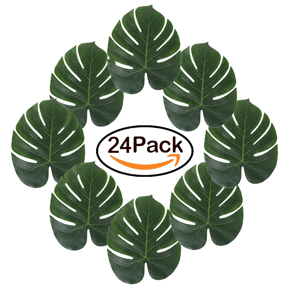 TRLYC 24Pcs 13.8 by 11.4inch Large Artificial Soft Tropical Palm Leaves for Hawaiian Luau Party Decoration, DIY Palm Leaf Place Mat Table Runner Wedding Table Decorations Jungle Party Supplies