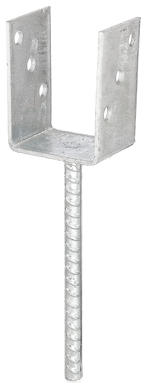 lichte Breite GAH-Alberts 214401 U-Pfostentr/äger mit extra langem Betonanker aus Riffelstahl 91 mm feuerverzinkt