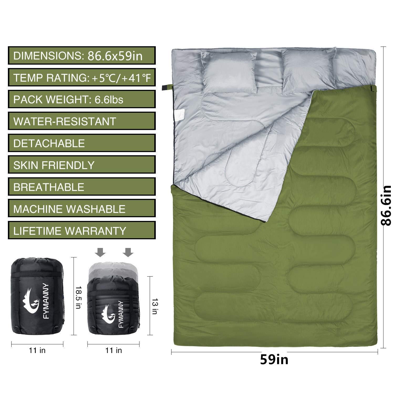 Verano 3 Estaciones Camping Ligero WERTYCITY Tienda de campa/ña cami/ón c/álido ni/ños Dormir Impermeable Saco de Dormir Doble Primavera oto/ño Clima Fresco para Adultos Senderismo