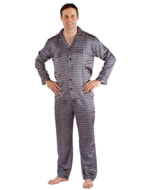 Hombres raso Establece pijama Camisón sedoso satén de raso largo pijamas L -Navy