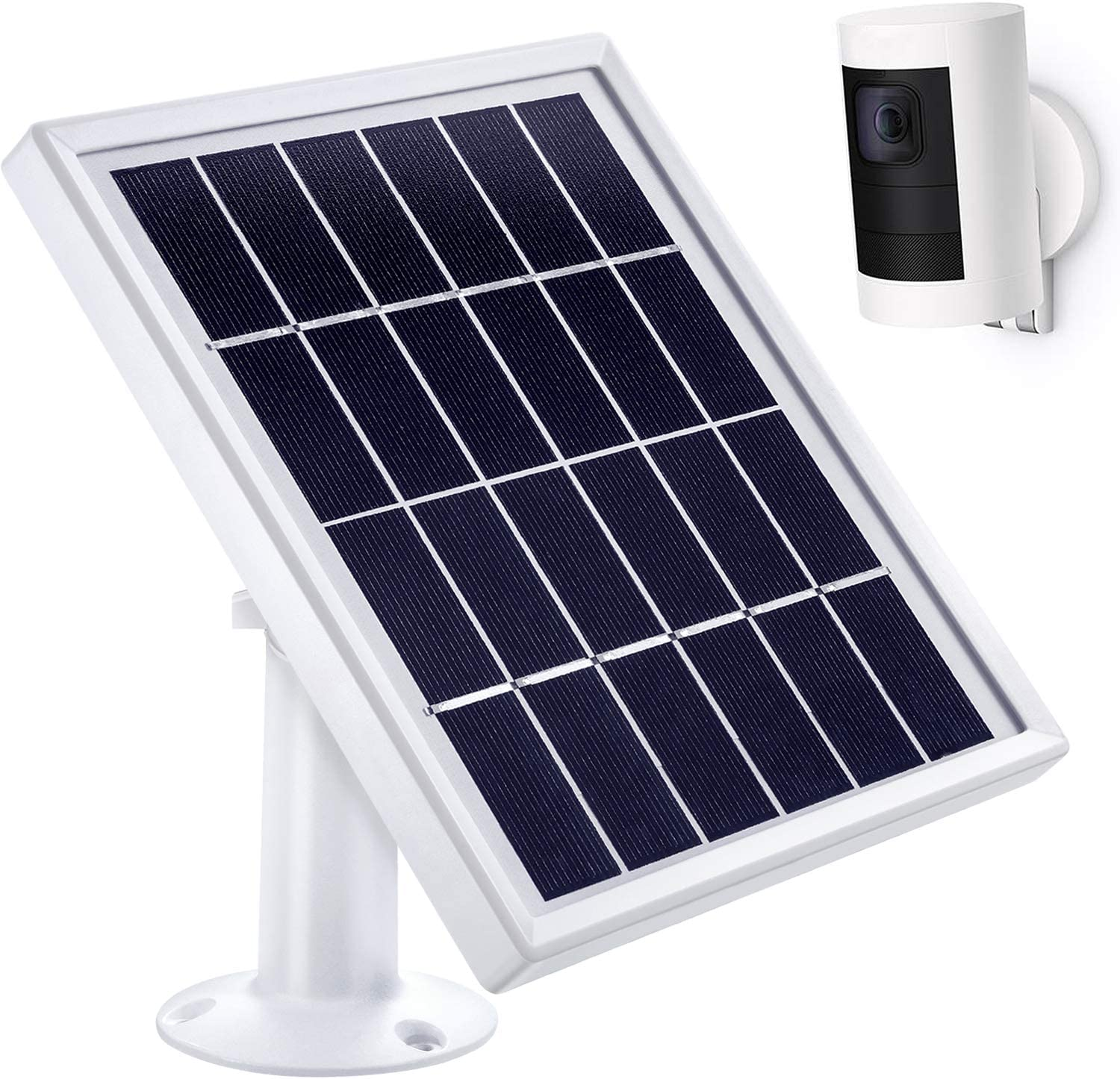 Hotop Solar Panel Compatible with All-New Ring Stick up Cam Battery Only , Cable with Waterproof DC Connector 12Feet , 5 V 3.5 W Max Output No Camera Included White