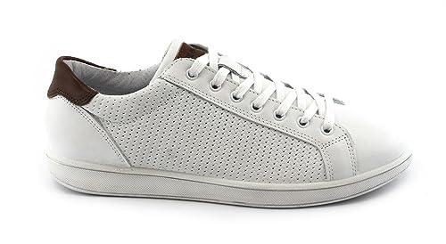 IGI&Co 1124033 Hombre Blanco Cordones Zapatillas de Deporte Zapatos de Cuero 42