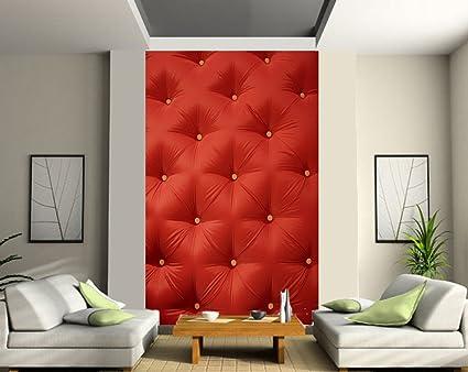 Papier Peint Deco Grande Largeur Design Capitonne Rouge 180x260cm Amazon Fr Cuisine Maison