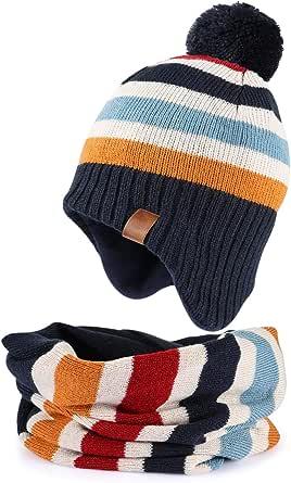 Tacobear Niños Sombrero de Orejeras de Invierno Sombreros de Pompon Bufanda Círculo de Punto Cuello Redondo