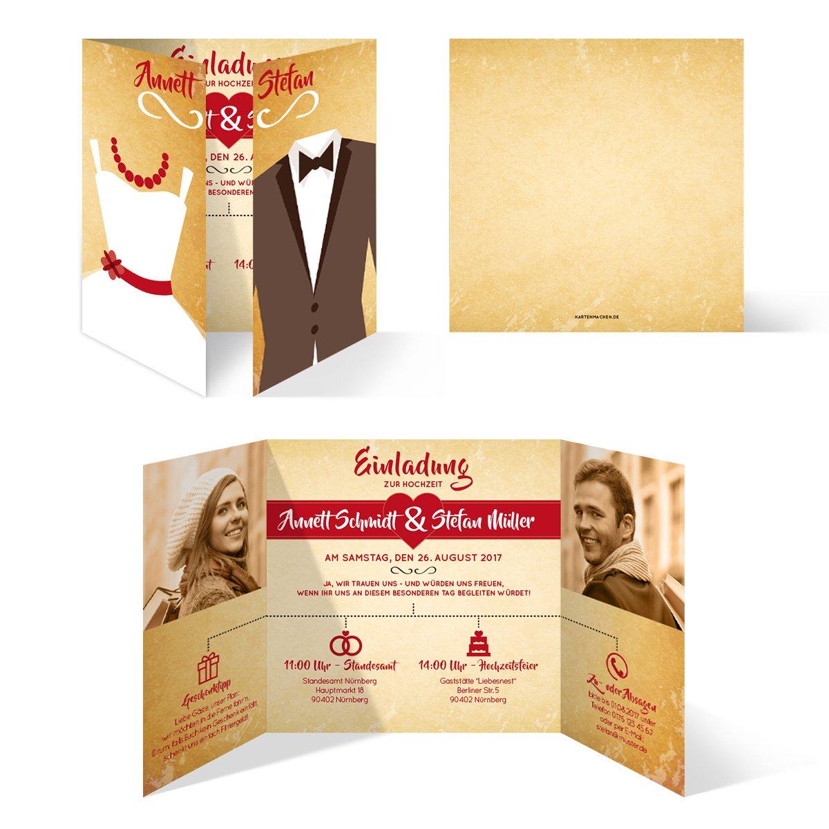 - Braut und Br/äutigam Altarfalz Hochzeitseinladungen 30 St/ück Hochzeitskarten in Grau