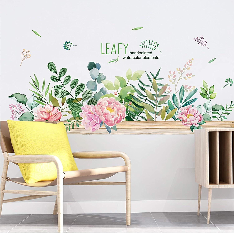 Transparent Flowers Leave Plant Decor Stickers V8K2